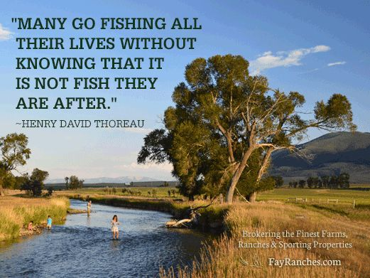 Many go fishing all their lives without knowing it is not the fish they are after... http://fayranches.com/blog/2014/06/19/6-fly-fishing-quotes