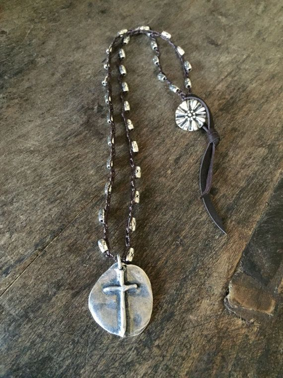 Artisan Cross Knotted Crochet Necklace Rustic Silver Beaded
