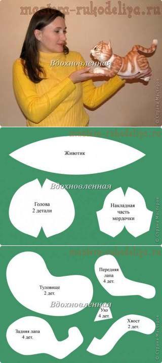 Мастера рукоделия - рукоделие для дома. Бесплатные мастер-классы, фото и видео уроки - Мастер-класс: Мягкая игрушка с росписью Котик Чипки