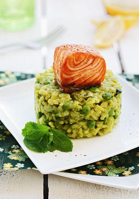 Risotto a la menta con guisantes y salmón by Lovefood.es