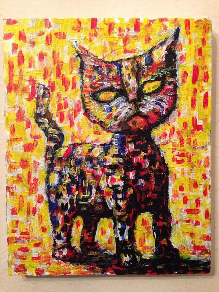 """""""Cat"""" Acrylic original  art by jack larson 8""""x10"""" on canvas. abstract signed #Abstract"""
