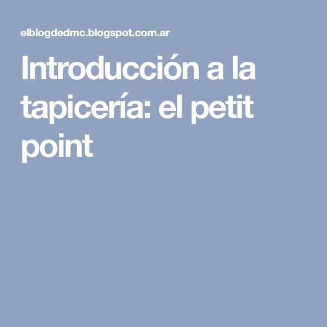 Introducción a la tapicería: el petit point
