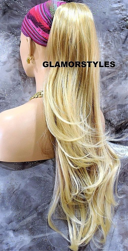 Blonde Mix Long Layered Wavy Ponytail Hair Piece Extension Claw Clip in/on NWT #Glamorstyles #HairExtension