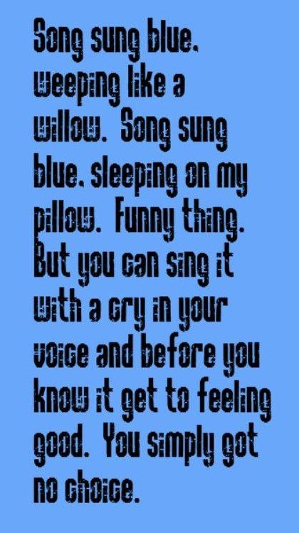 Neil Diamond - Song Sung Blue - song lyrics, music lyrics, song quotes, music quotes, songs