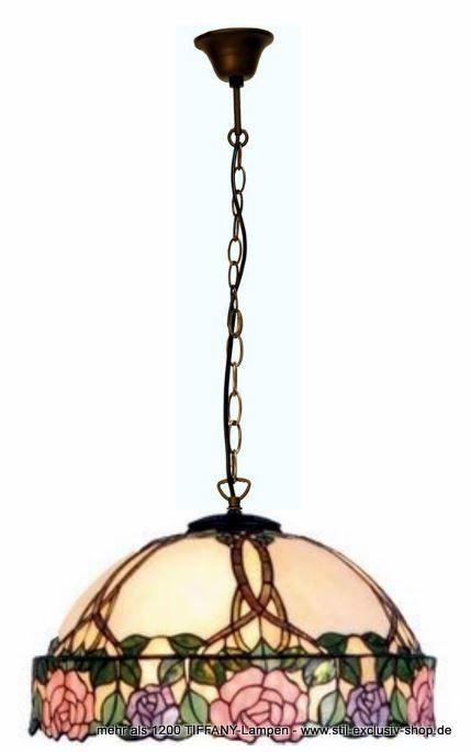 EXTRA-Modell!  50cm ø. TIFFANY-Hänge-Lampe, unsere Serie DAPHNE.  50cm ø. ca. 120cm hoch. 3 x E-27, je 60W.        Meisterklasse = sorgfältig im Glasofen gerundete ausgesuchteTIFFANY-Gläser wurden hier aufwändig für unser Modell DAPHNE zusammengefügt. Die eingearbeiteten Zweige enden im versetzt hergestellten breiten Blütenrand, eine handwerklich sehr schwierige TIFFANY-Herstellung der absoluten Meister-Klasse!