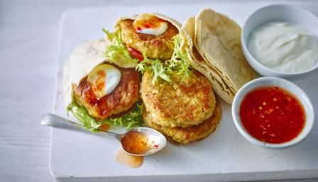 These tasty vegetarian burgers are easy to make and brilliant for a healthy family dinner. The burgers are freezer friendly so perfect for making ahead.   Equipment and preparation: for this recipe you will need a food processor.   Each burger provides 423 kcal, 14g protein, 64g carbohydrate (of which 6g sugars), 13g fat (of which 1.5g saturates), 5g fibre and 2.1g salt.