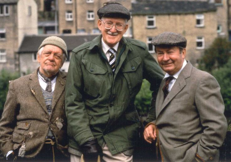 Last of the Summer Wine - focused on a trio of older men and their youthful antics. The original trio consisted of Compo Simmonite, Norman Clegg and Cyril Blamire. Blamire left in 1976, when Michael Bates fell ill shortly before filming of the third series, requiring Clarke to hastily rewrite the series with a new third man. The third member of the trio would be recast four times over the next three decades: Foggy Dewhurst in 1976 (middle of the pic)