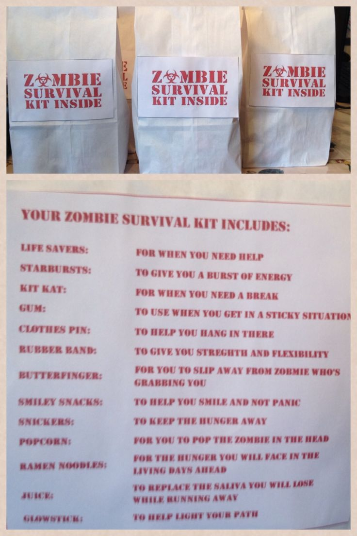 Zombie Survival Kit Goodie Bag for kids party-i purchased white lunch bags, added zombie survival kit sign from clip art i found online and glued it to bag, then typed up the contents of goodie bag and glued that to other side of bag. It was a big hit! All the kids and adults LOVED it!