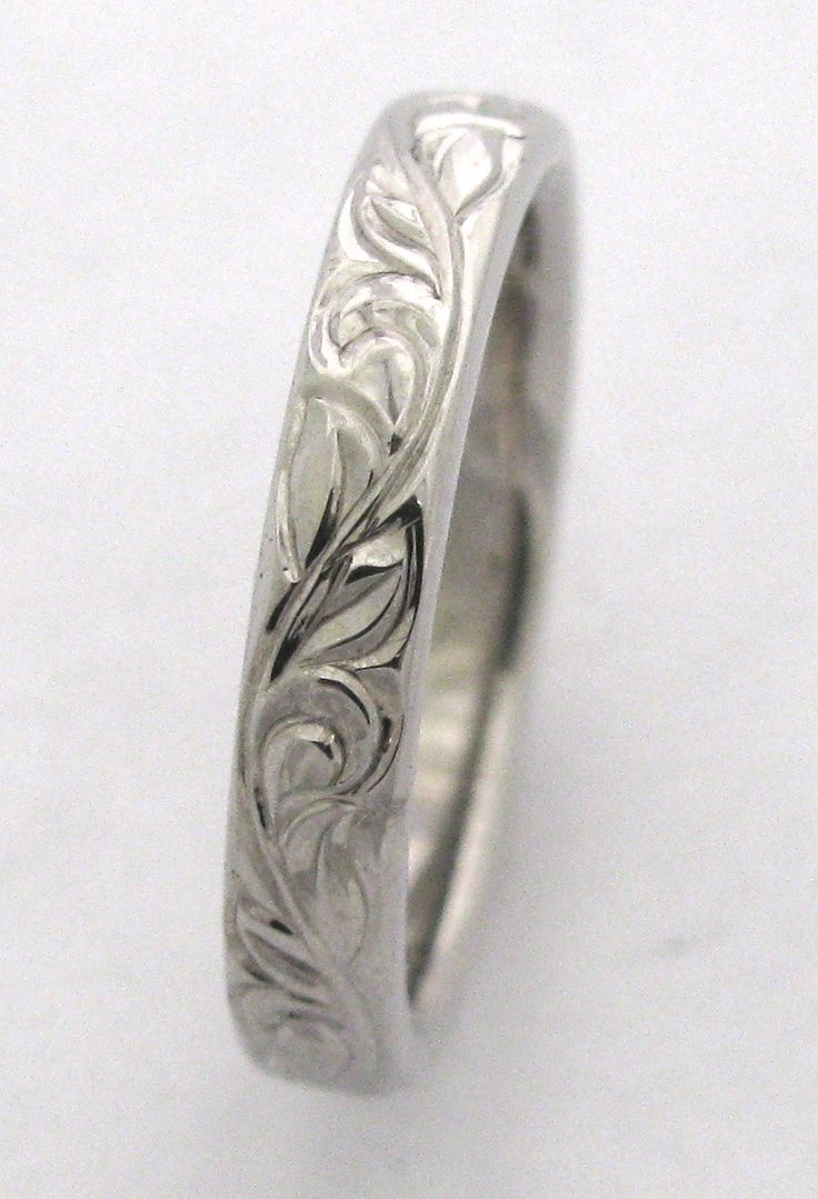 Swirl pattern white gold wedding ring for brides fashion fill - Hand Engraved Vine And Leaf Wedding Band And Anniversary Band 3mm 14k White Gold Band Made To Order