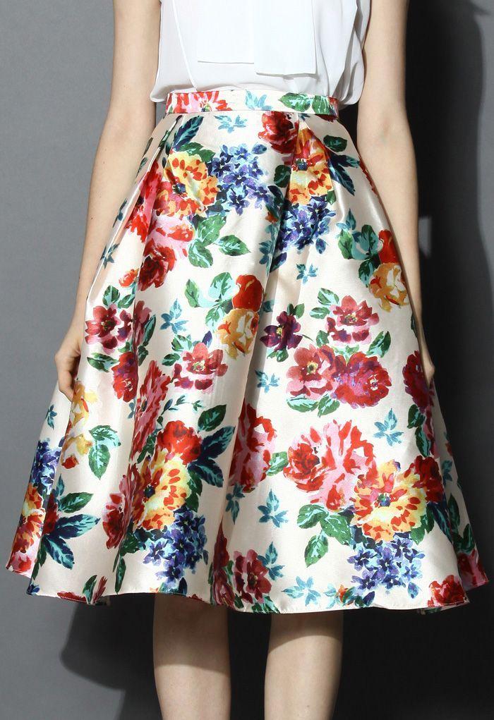 Blossom Age Floral Midi Skirt