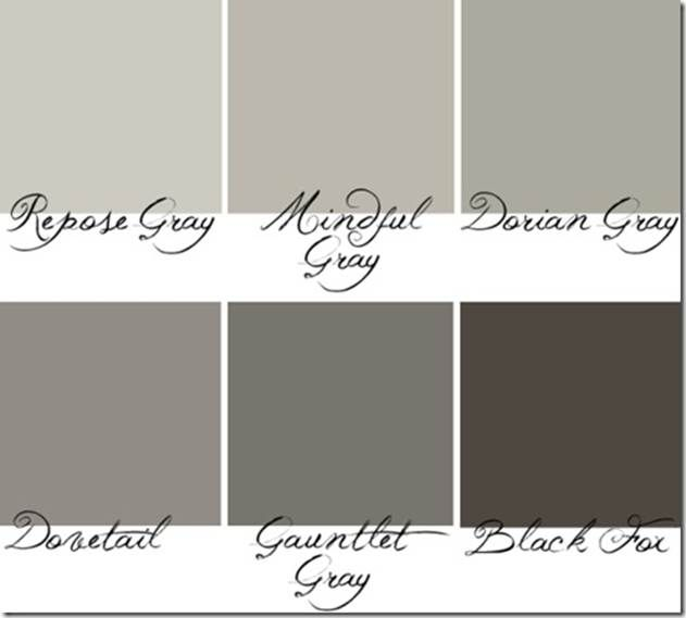 The grays I will be using throughout the interior and exterior of our new home. Just add a pop of color with shutters on the exterior or fabrics on the interior