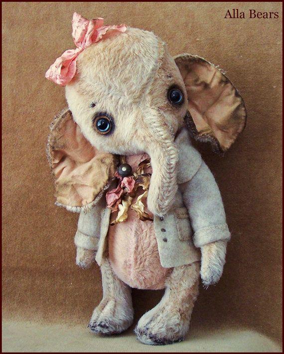 by Alla Bears original artist Winter Wonderland Elephant Ellie art toy doll Vintage Antique baby handmade stuffed home decor Christmas