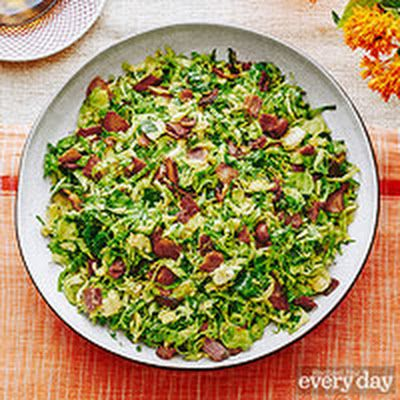 Jacque Pepin's Fricassee of Brussels Sprouts and Bacon @keyingredient #bacon