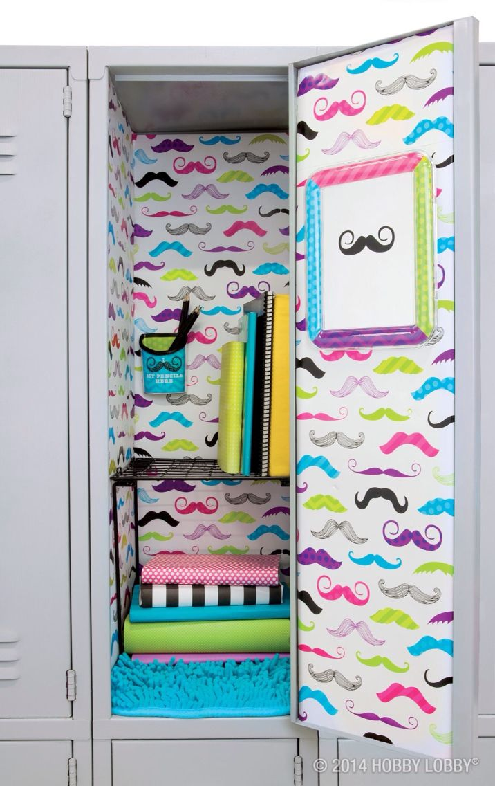 mustache locker idea for girls - Locker Decoration Ideas
