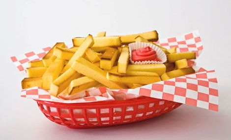 French Fries Pound Cake: Pound Cakes, Idea, Cakes Fried, Muffins Tins, April Fools Day, French Fried, Cakes Design, Birthday Cakes, Kid