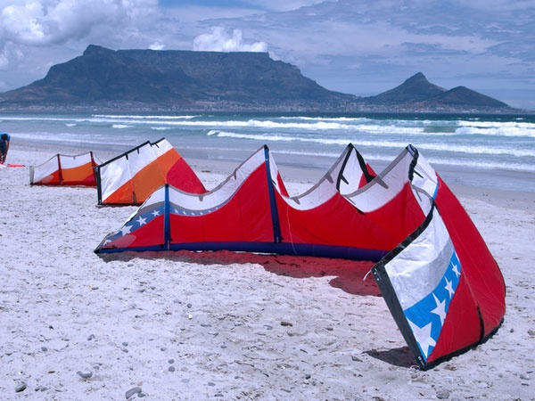 Bloubergstrand, Cape Town.  Kiting is very popular there.