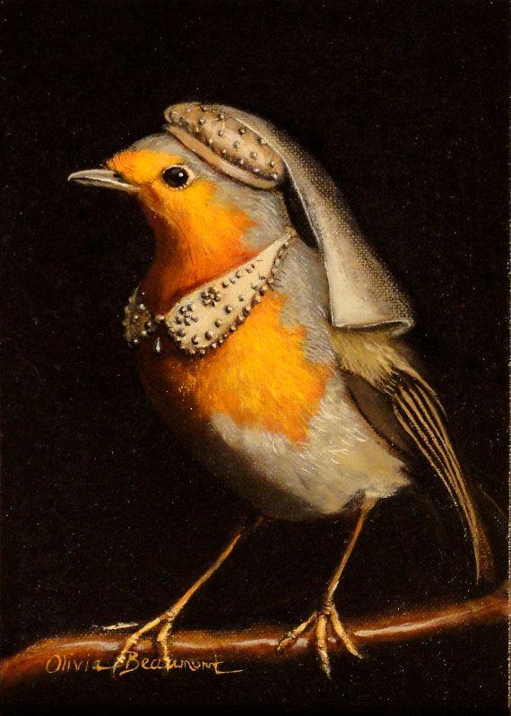 Bird Art Maid Mirabelle original oil painting by BeaumontStudio, $500.00