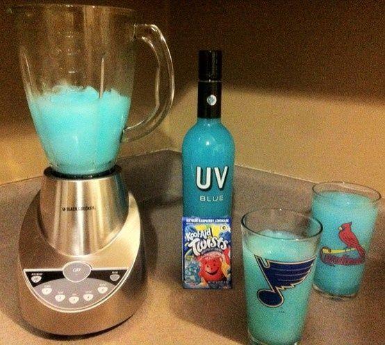 Blue Raspberry Vodka Lemonade: Ice Blue Raspberry Lemonade Kool-Aid, add UV Blue Vodka, add ice and blend....thunder up!