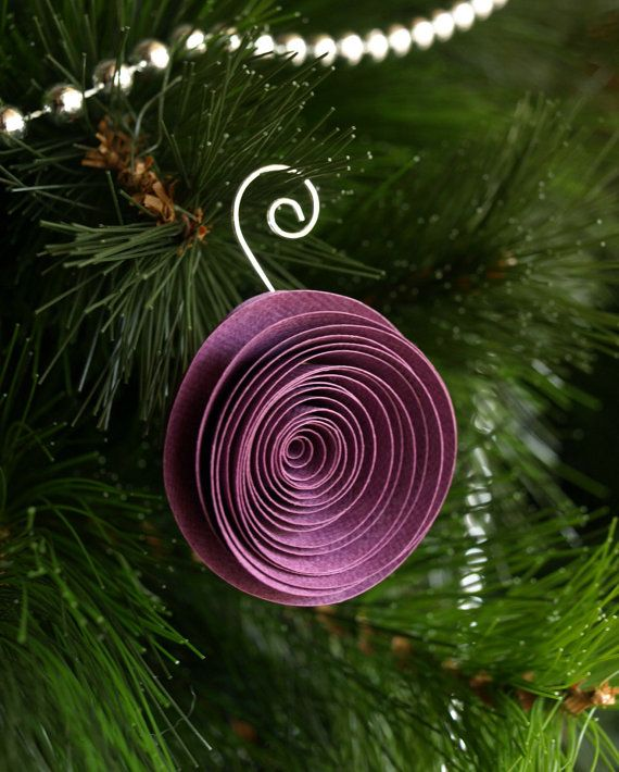 Purple Paper flower Christmas ornament tree ornament by PulpPetals, $19.50