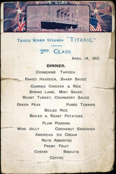 Titanic Menus Reveal The Stark Contrast Between 1st 2nd