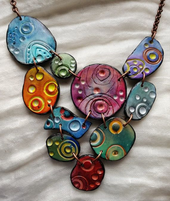 Necklace Multicolored bubbles polymer clay original by ImpastArte