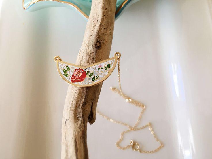 Layered Necklace,Bib Necklace,Enamel Pendant Necklace,Vintage Necklace,Half Moon Necklace,Vintage Flowers Pendant,Boho Necklace,Gift for Her by MomentusNY on Etsy https://www.etsy.com/listing/78021222/layered-necklacebib-necklaceenamel