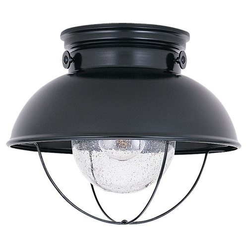 "Sea Gull Lighting Black Outdoor Flush Mount Light-Nautical AND it's a ""Sea Gull"" brand!  Can't get much beachier!"