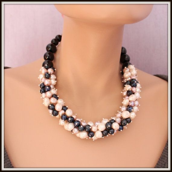 Freshwater Pearl Necklace White Pink and Black colours by Fagiano, $95.00