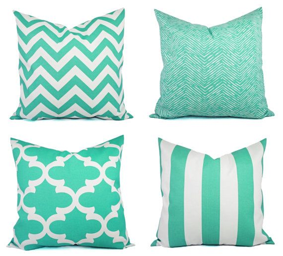 Indoor Outdoor Pillow Covers Aqua Pillow by CastawayCoveDecor