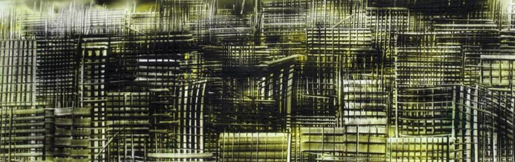 'Yelo & Black City' Painted in Encaustic wax  by Phil Madley