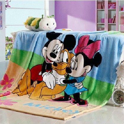 Милый мультфильм ватки коралла одеяло 150 * 200 см для детей, яркие цветные микки маус и минни маус в полный размер постельные принадлежности, синий одеяла / простыня