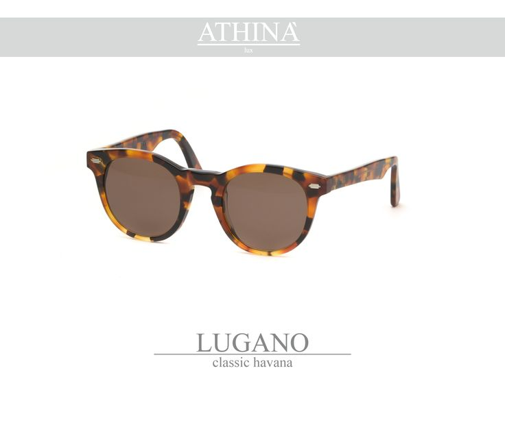 Mod. LUG0202S03 Called as the native city of Athinà Lux, Lugano is made with classic havana acetate of cellulose and standard brown lenses.
