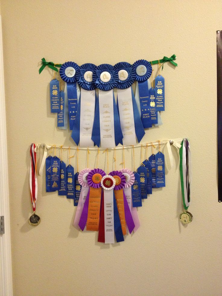 This is how I decided to display my horse show achievements. It was fairly easy to make- just a piece of ribbon with bows and conchos on the ends... I'm really happy with how it turned out :) I think I'll hang it up somewhere in my barn :)