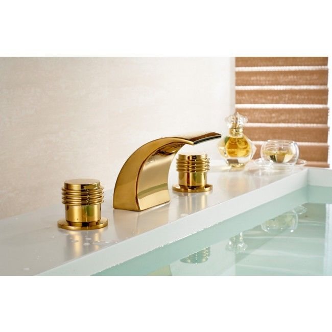 Round Dual Handle Gold Chrome Deck Mount Waterfall Bathroom Sink Faucet