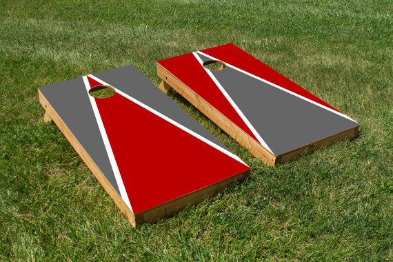 Cornhole Board Decals with Ohio State Buckeyes Colors (Red and Grey)