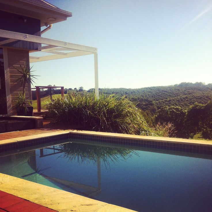 The pool and view over macadamia trees and horse paddocks.