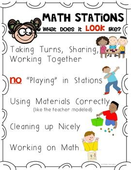 Looks like/Sounds like - Math station expectation posters for the primary classroom. $