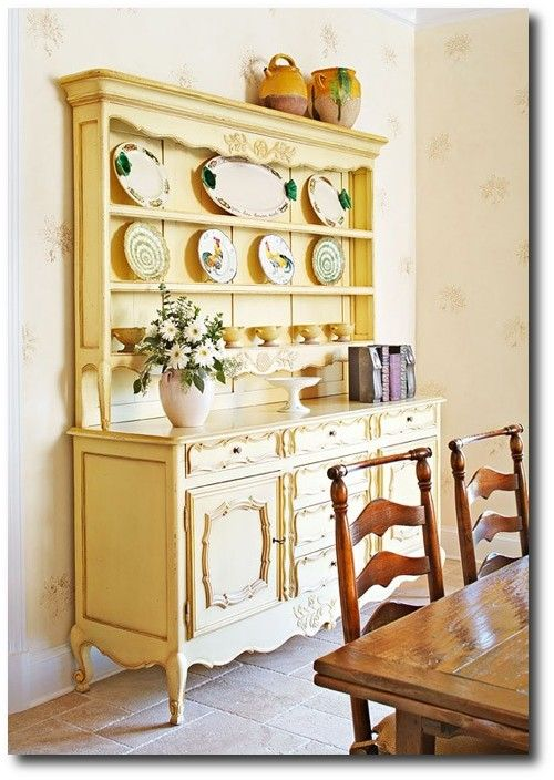 Yellow Reproduction French Vaisselier- Painted Provence Furniture, French Provence, French Provincial, Louis XV Furniture, French Style, Country French, French Country, Painted Furniture, Annie Sloan, Rustic Painted Furniture