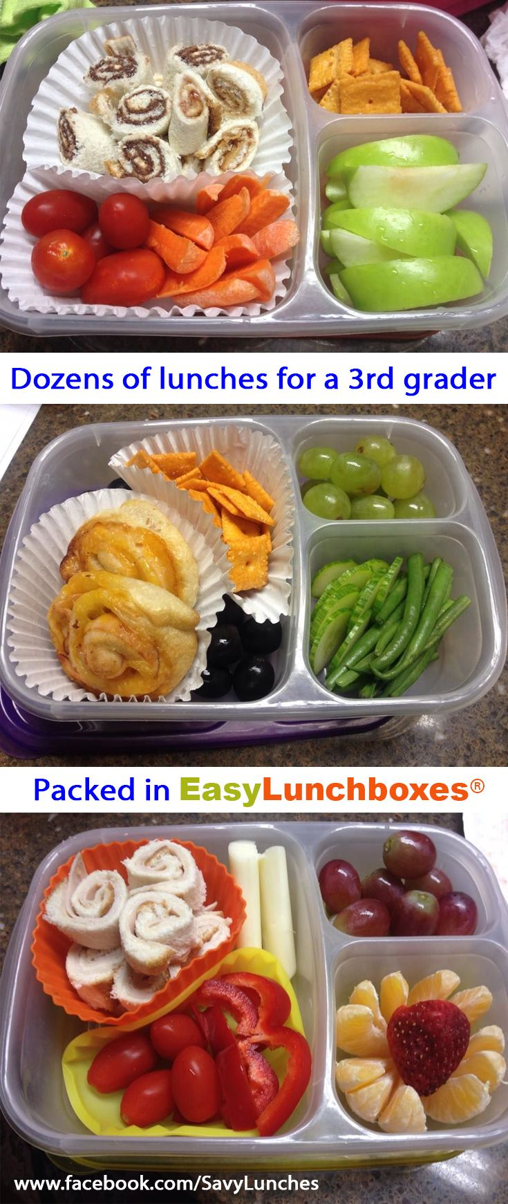 Dozens of packed lunch ideas for kids. These 3rd grade lunches are all packed in @easylunchboxes
