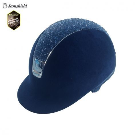 Samshield Navy Crystal Medley Premium Riding Hat with Chrome Trim, £1202. The ultimate crystal riding hat!