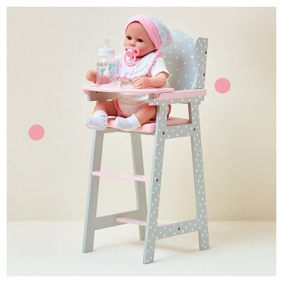 Olivia's Little World - Baby Doll Furniture - Baby High Chair (Grey Polka Dots)