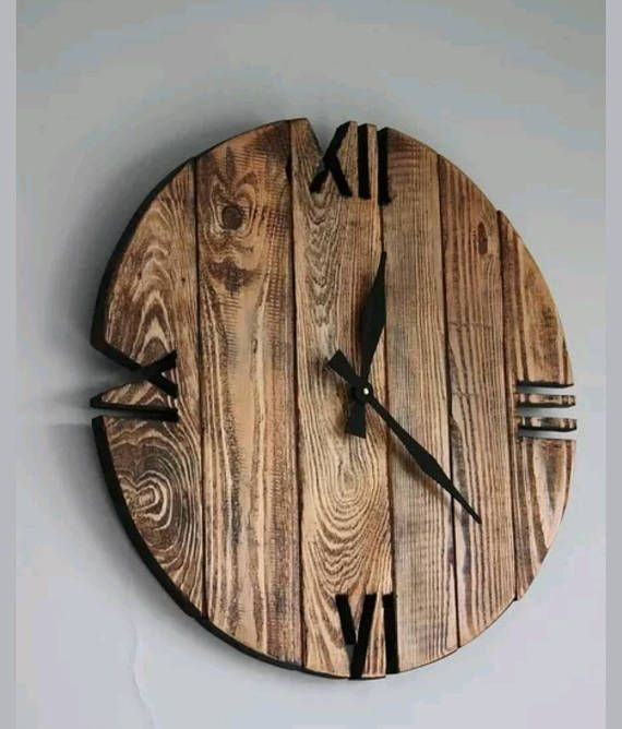 Rustic stylish reclaimed timber clock
