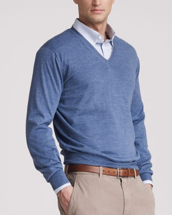 Fine-Gauge V-Neck Sweater, Danubio by Brunello Cucinelli at Bergdorf Goodman.