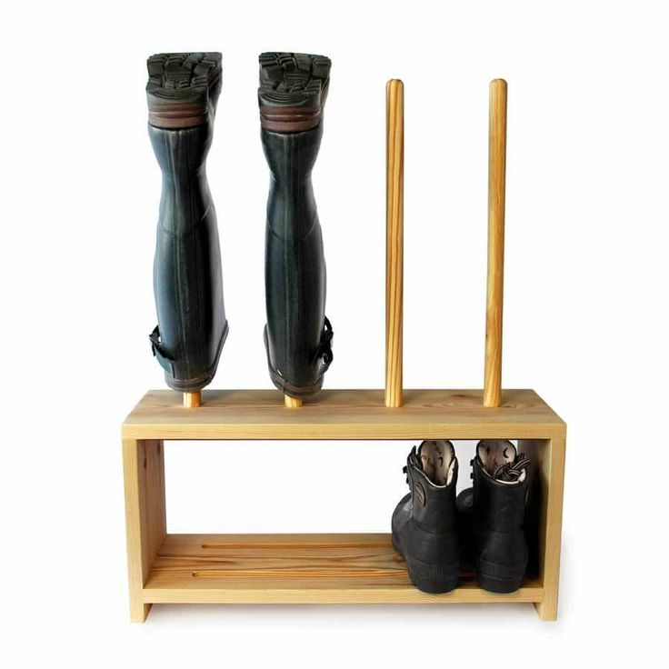 Welly Boot and Shoe Rack - welly rack above, shoe shelf below. Wooden footwear storage rack holds 5 pairs of welly boots and shoes. Handmade in solid Pine