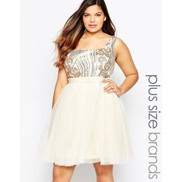 Little Mistress Plus Sequin Bodice Tulle Prom Dress ($37) ❤ liked on Polyvore featuring dresses, cream, plus size, white dress, plus size cocktail dresses, prom dresses, sequin cocktail dresses and women plus size dresses