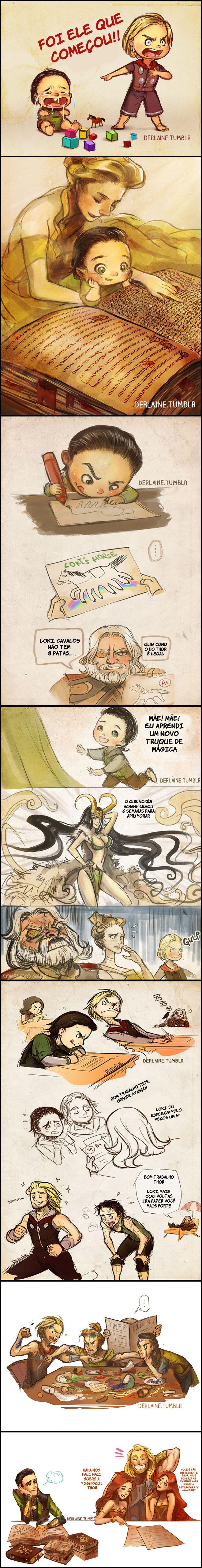 Eis uma série de ilustrações da artista Lainemostrando como foi a infância de Loki junto com o irmão Thor, na visão dela é claro.  Não esquenta Loki
