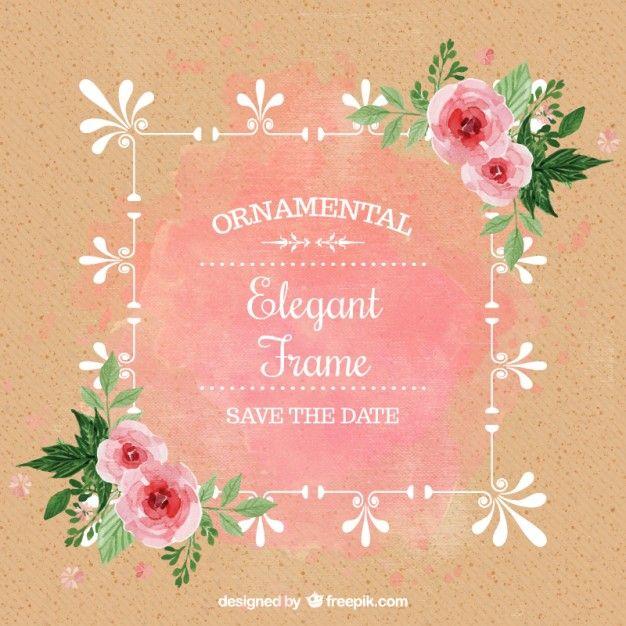 バラ水彩結婚式の招待状 無料ベクター