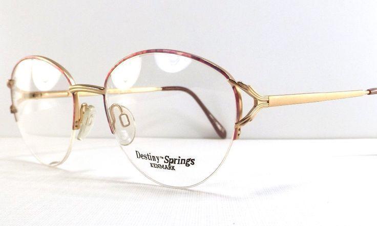 Vintage 90s deadstock half rim eyeglasses frame oval gold metal eye glasses pink… – socialpeople