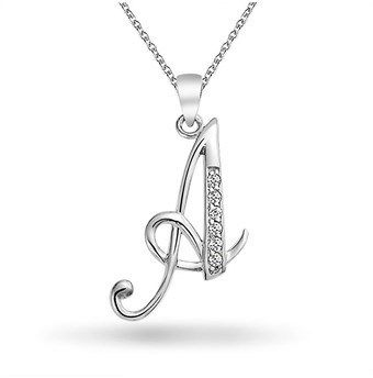 Bling Jewelry Cz Cursive Alphabet Letter A Pendant Rhodium Plated Necklace 16 Inches.