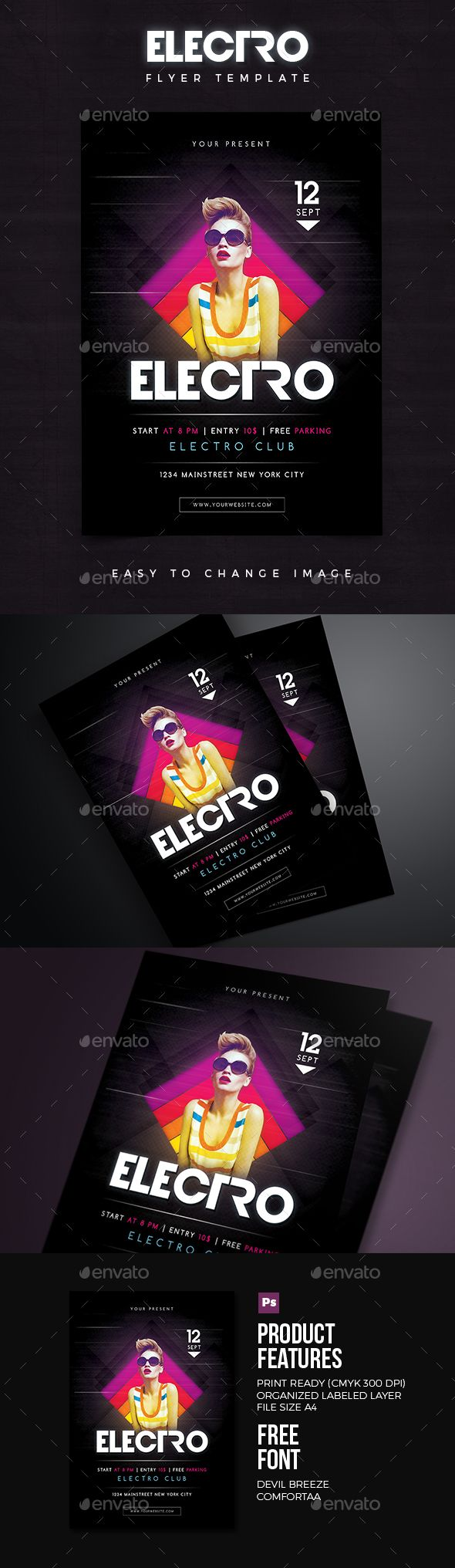 Electro Flyer 02  — PSD Template #space #concert • Download ➝ https://graphicriver.net/item/electro-flyer-02/18394879?ref=pxcr